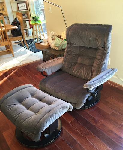 Reupholstered Recliner Chair And Ottoman