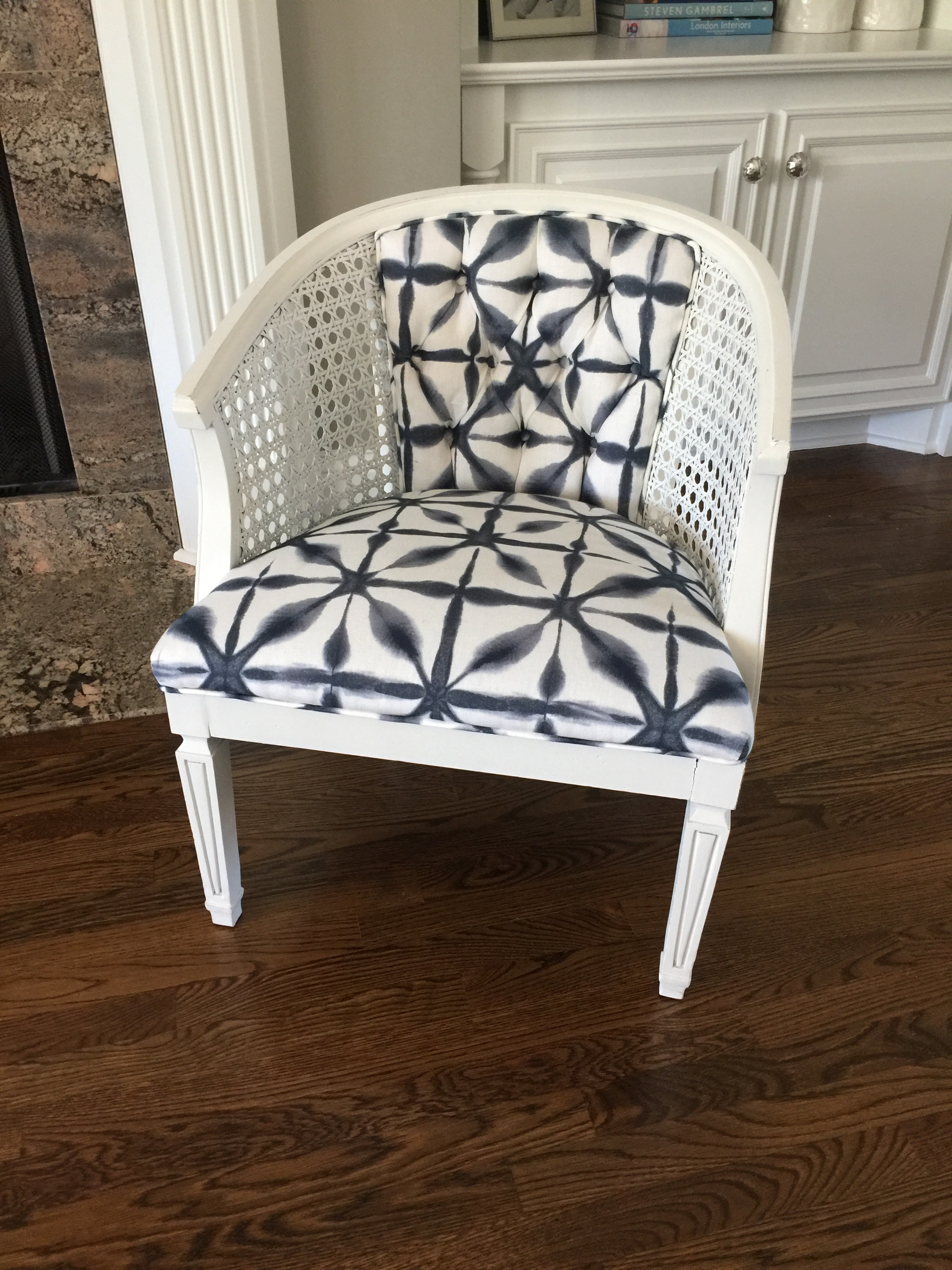 tufted back, chair  recovered